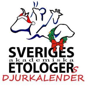 Sveriges Akademiska Etologers logga i julutförande med texten Djurkalender